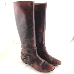 Knee high boots red black leather distressed flat